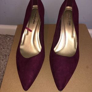 Wine colored pointed toe pumps